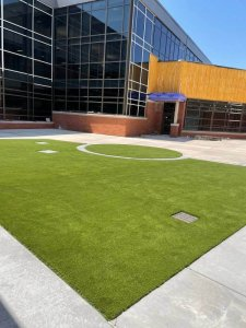 Synlawn artificial playground turf project under construction