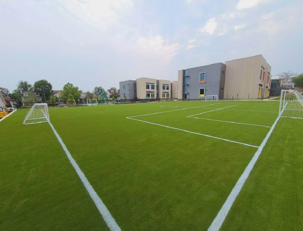Soccer field built with artificial turf