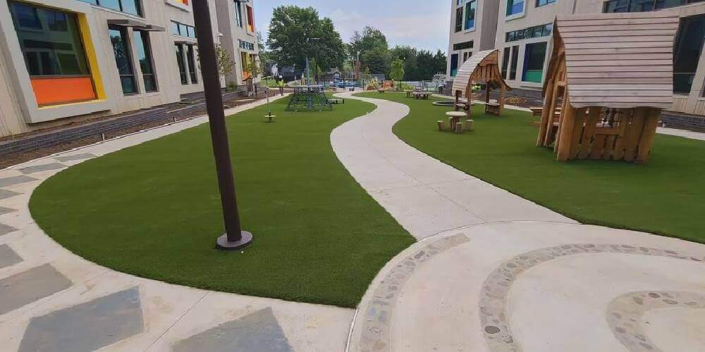 artificial playground turf project by SYNLawn